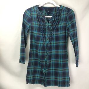 Girl Tommy Hilfiger plaid flannel button shirt 12